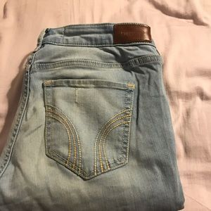 hollister ripped light blue jeans